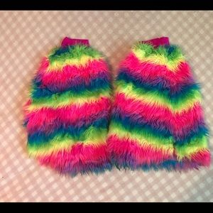 Rainbow fluffies with elastic band gently worn